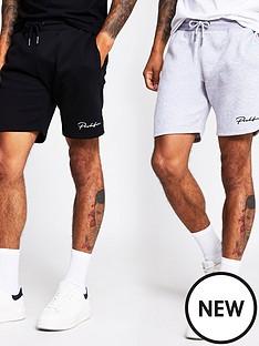 river-island-2-pack-jersey-shorts-blackgrey