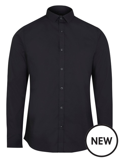 river-island-slim-fit-long-sleeve-shirt-black