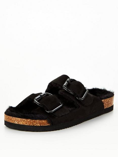 v-by-very-faux-fur-footbed-slipper-black
