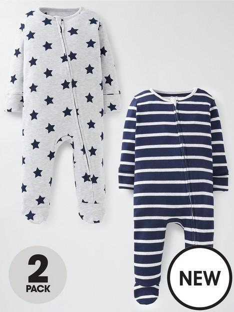 mini-v-by-very-baby-boys-2-packnbspzip-through-sleepsuit-navygrey