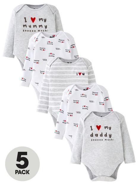 mini-v-by-very-baby-unisex-5-pk-unisex-mummy-amp-daddy-bodysuit--nbspmulti