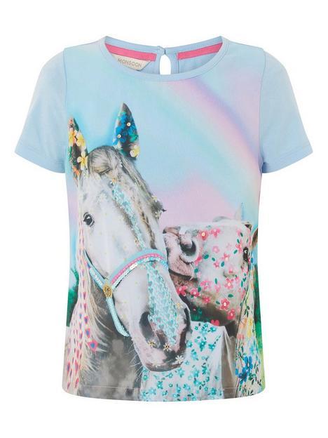 monsoon-girls-majestic-horse-t-shirt-blue