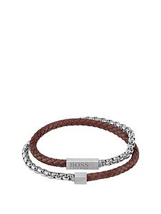 boss-blended-brown-leather-and-stainless-steel-braided-gents-bracelet
