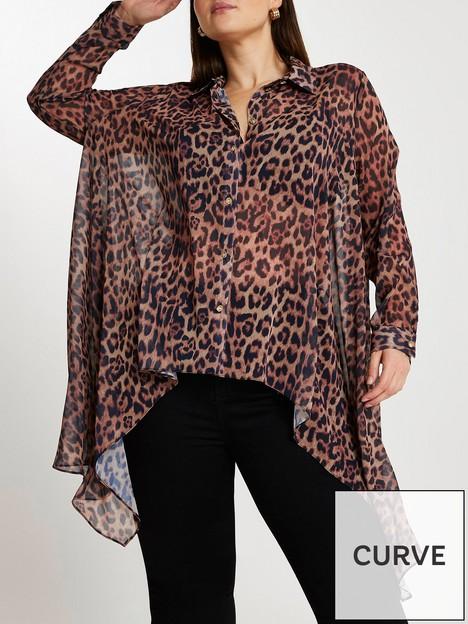 ri-plus-chiffon-frill-leopard-print-shirt-brown