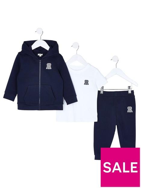 river-island-mini-mini-boys-3-piece-jog-and-t-shirt-set--nbspnavy