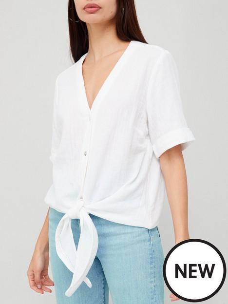 v-by-very-short-sleeve-tie-hem-shirt-white