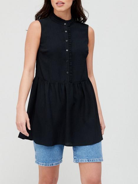 v-by-very-sleeveless-frill-detail-peplum-blouse-black