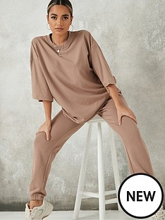 missguided-missguided-co-ord-oversized-t-shirt-jogger-set-stone