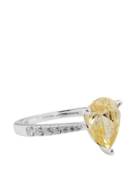 simply-silver-simply-silver-sterling-silver-925-canary-yellow-pear-cut-ring