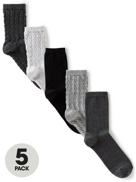 v-by-very-5-pack-filet-cable-and-mock-rib-ankle-socks-monochrome