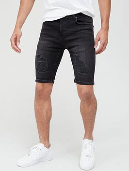 sik-silk-distressed-denim-shorts-washed-black