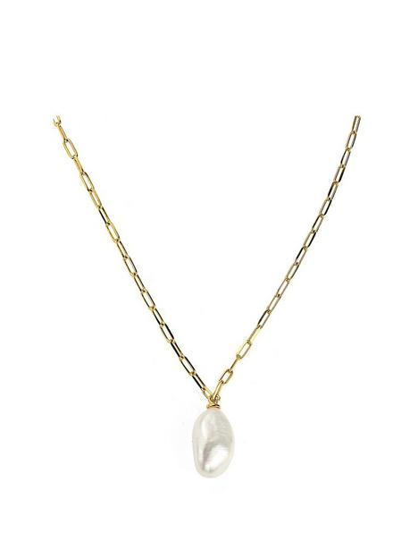 love-pearl-925-sterling-silver-18ct-gold-plated-baroque-paperclip-necklace