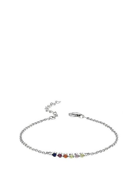 the-love-silver-collection-925-sterling-silver-rhodium-plated-silver-multi-coloured-stone-bar-bracelet