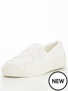 office-fonzo-woven-slip-on-plimsoll-white
