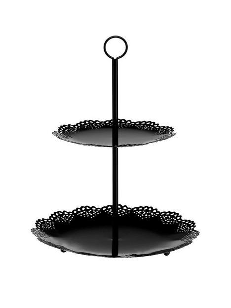 premier-housewares-2-tier-black-cake-stand