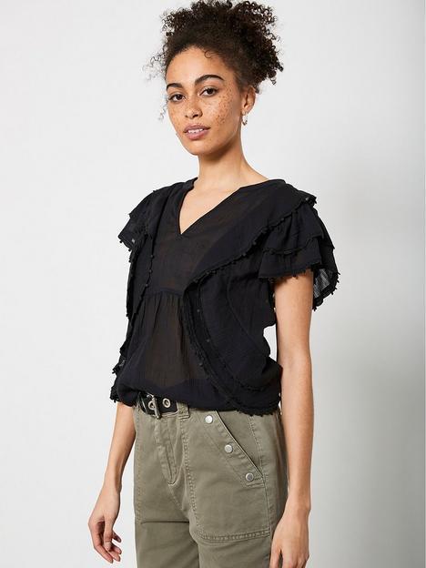 mint-velvet-ruffle-trim-back-detail-top-black