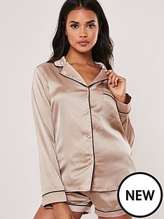 missguided-missguided-satin-piping-detail-short-pyjama-set-mink