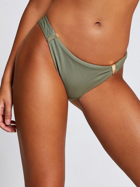 river-island-metal-trim-ribbed-bikini-brief-khaki