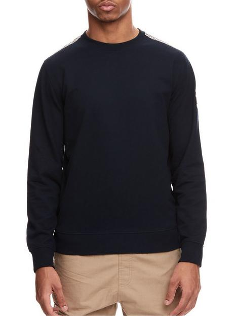weekend-offender-weekend-offender-miho-crew-neck-fleece-with-nylon-check-navy