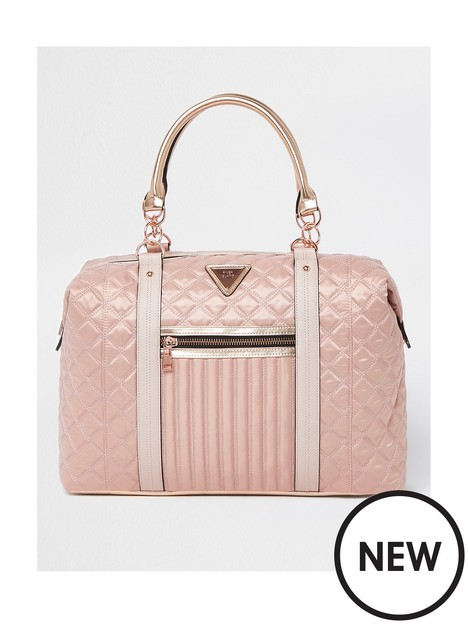 river-island-quilted-holdall-pink