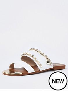 river-island-chain-branded-flat-sandal-white