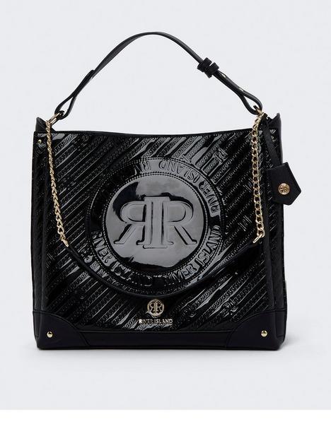 river-island-embossed-patent-bag-black