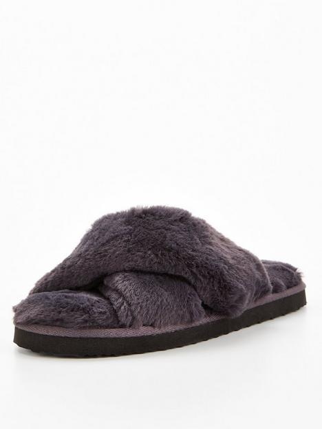 v-by-very-cross-strap-slider-slipper-dark-grey