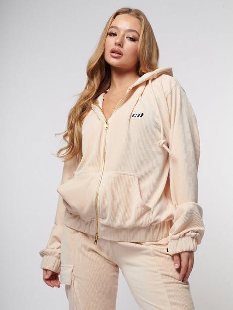 criminal-damage-cord-zip-through-oversized-hoodie-beigenbsp