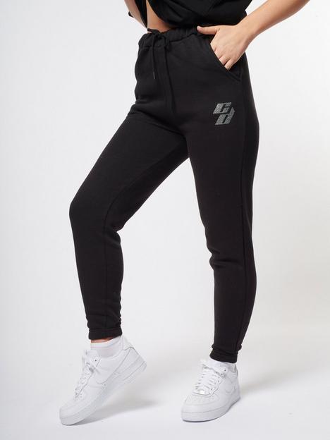 criminal-damage-rhinestone-logo-jogger-black