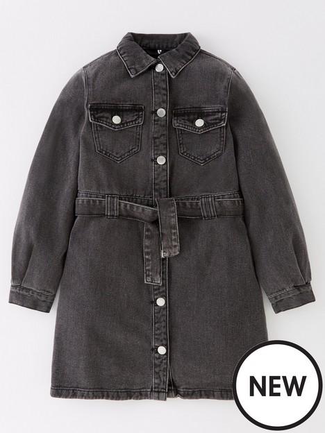 v-by-very-girls-long-sleeve-button-through-dress-black