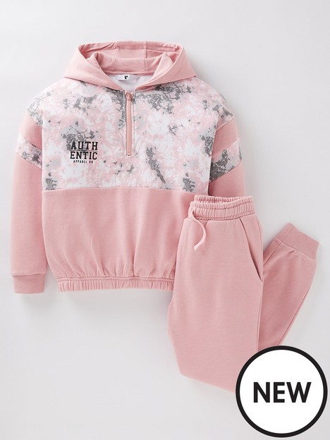 v-by-very-girls-tie-dye-half-zip-and-jogger-pink