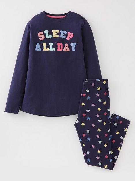 v-by-very-girls-single-sleep-all-day-long-sleeve-pj-set-navy