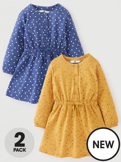 mini-v-by-very-girls-2-packnbspwaisted-long-sleeve-jerseynbspdresses-multi