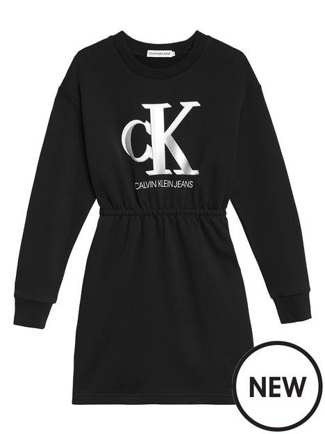 calvin-klein-jeans-girls-monogram-sweatshirt-dress-black