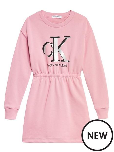 calvin-klein-jeans-girls-monogram-sweatshirt-dress-berry