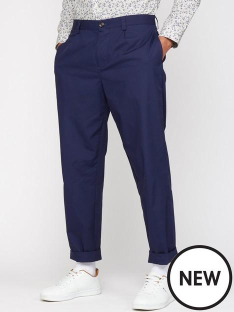 ben-sherman-poplin-relaxed-taper-pleat-trouser-marine