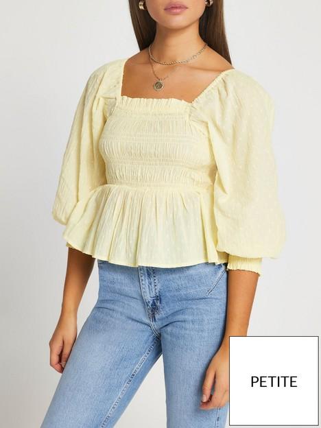 ri-petite-shirred-waist-top-yellow