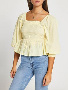 ri-petite-shirred-waist-top-yellow