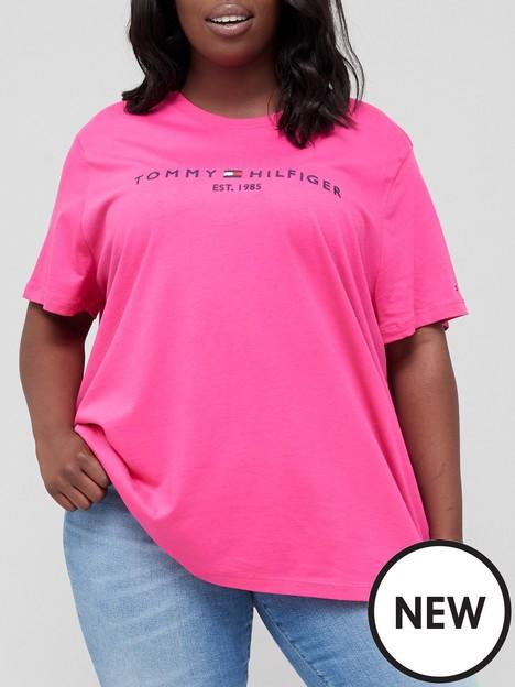 tommy-hilfiger-curve-100-organic-cotton-essential-logo-t-shirt-pink