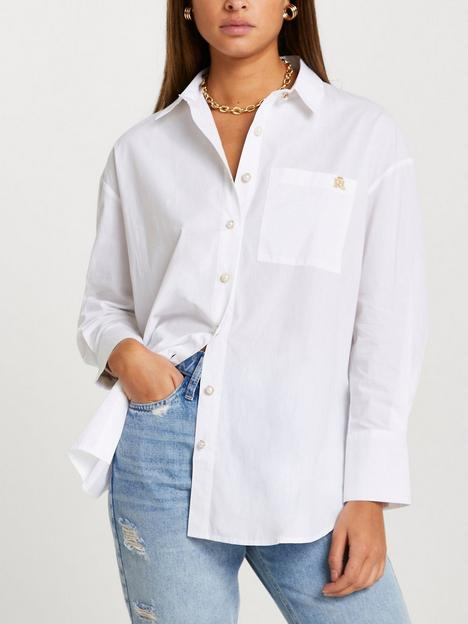 river-island-button-detail-embroidered-cuff-shirt-white