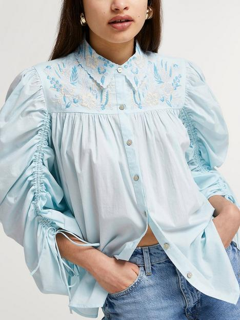 river-island-volume-rouched-sleeve-shirt-blue