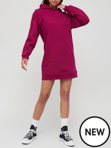 calvin-klein-jeans-logo-trim-hoodie-dress-purple
