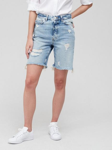 v-by-very-miami-high-waist-longline-distressed-short-mid-wash