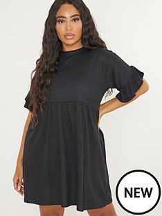missguided-plus-missguided-plus-size-ribbed-frill-sleeve-smock-dress-black