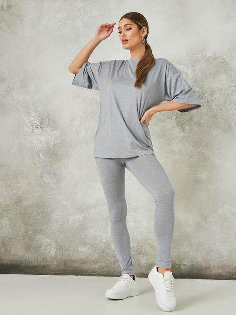 missguided-missguided-co-ord-legging-and-oversized-t-shirt-set-grey
