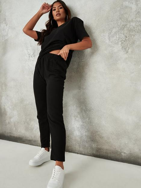 missguided-missguided-co-ord-v-neck-t-shirt-jogger-set-black