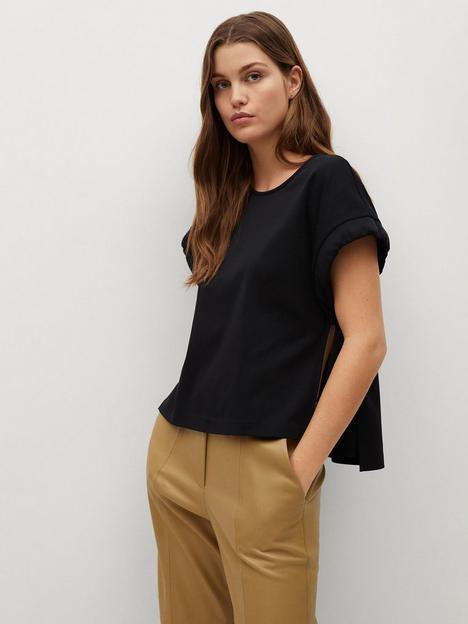 mango-split-side-t-shirt-black