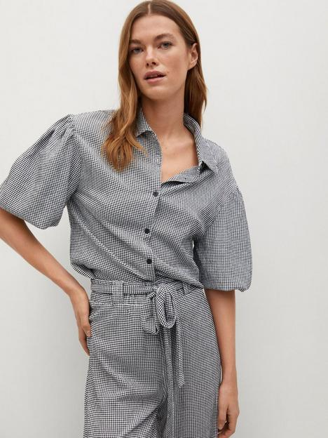mango-gingham-short-sleeve-blouse-black