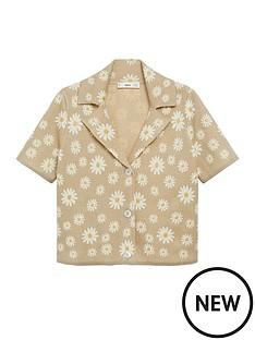 mango-daisy-print-cardigan-light-brown