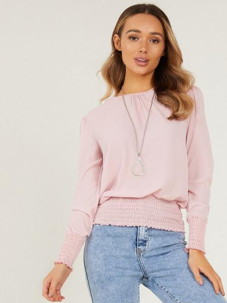 quiz-shirring-necklace-top-pink